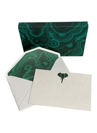 Madame Malachite Malahit Mektup Seti (8 Kart/Zarf) Fil Yeşil